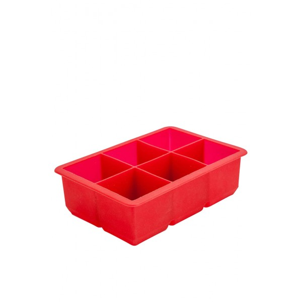 6 Cavity Silicone Ice Cube Mould 2 Inch Square (red)