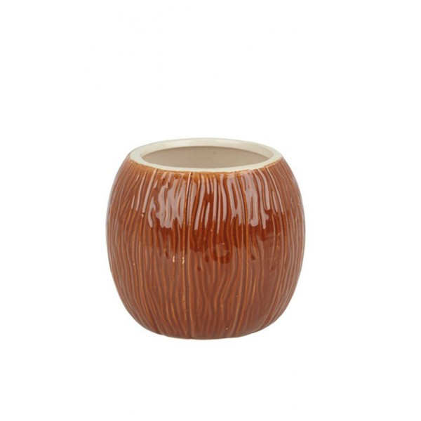 Ceramic Coconut Tiki Mug 500ml Medium Brown