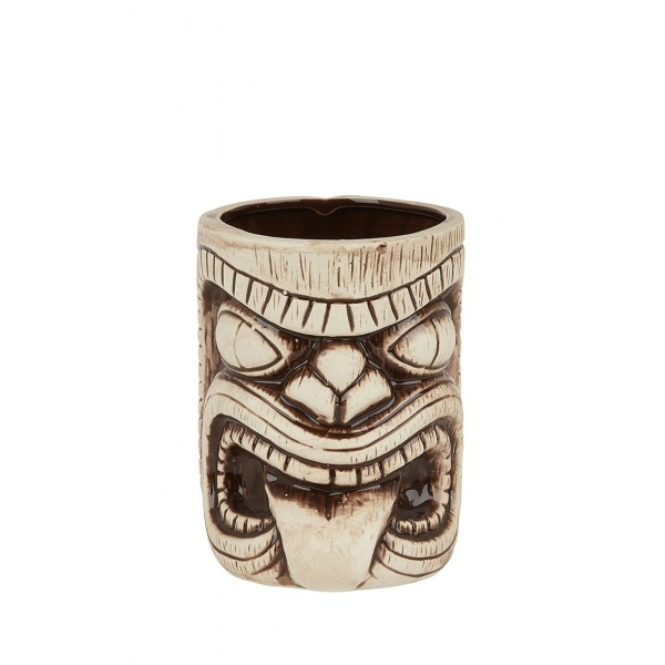 Ceramic Toscano Lono Tiki Mug 450ml - Light & Coffee Brown