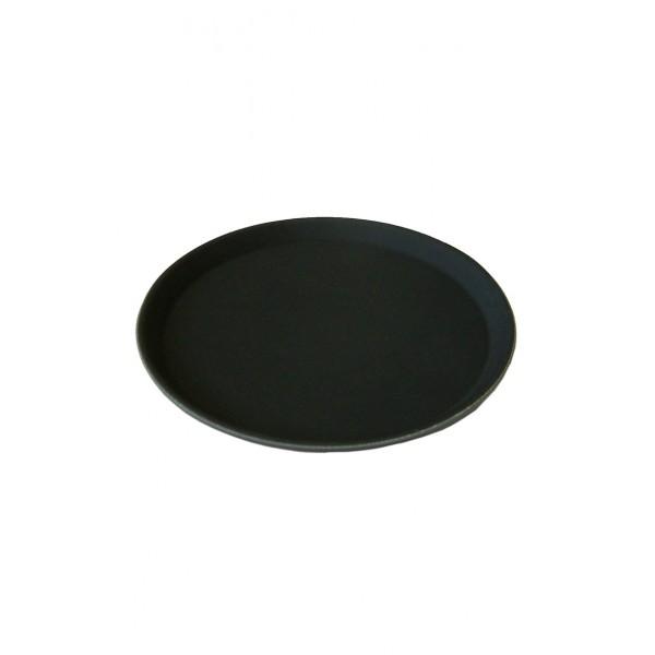 16 Inch Round Black Plastic Non Slip Tray