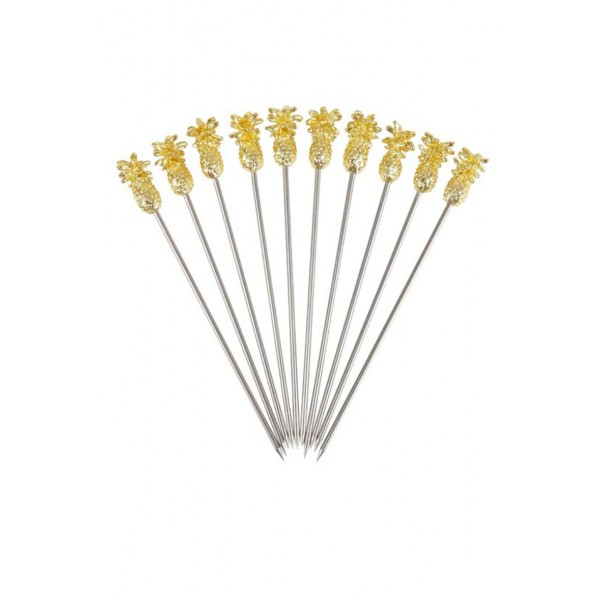 Pineapple Garnish Pick Gold Plated Pk10
