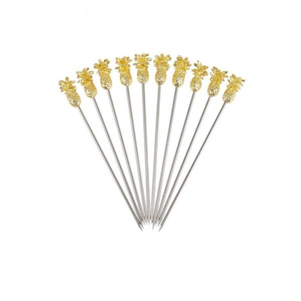 Pineapple Garnish Pick Gold Plated Pk10 (3734)
