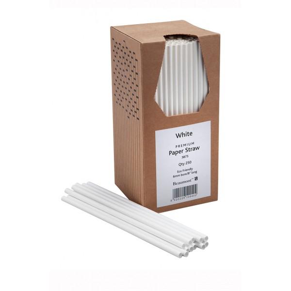 8 Inch 6mm Bore Paper Straw - White Pk 250